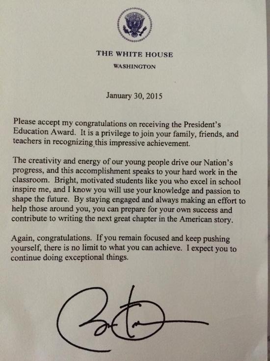 Bức thư tổng thống Mỹ khen tặng Đỗ Nhật Nam.