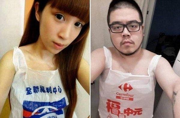 Khoác bao ni lông được xem là một cách để chống lối sống lãng phí ở Đài Loan.