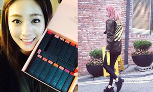 Sao Hàn 6/9: Nana khoe bộ mỹ phẩm thích mê, Dara tóc hồng chất chơi