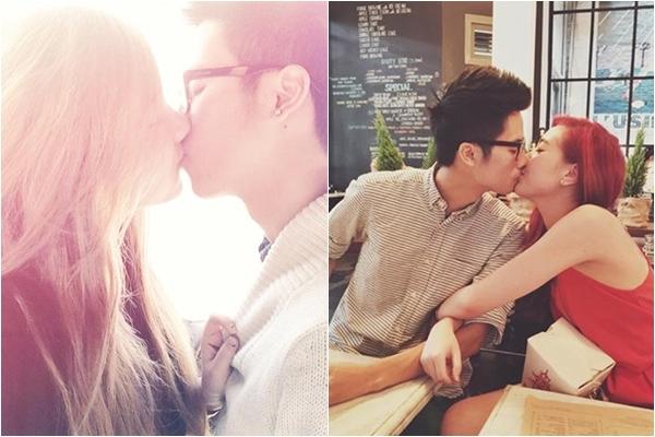 """Những khoảnh khắc về nụ hôn ngọt ngào, lãng mạn trở thành """"đặc sản"""" của JV - Mie Nguyễn. Họ không ngần ngại chia sẻ những bức ảnh khóa môi nhau ngọt lim với tần suất dày đặc khiến không ít người phải ghen tỵ."""