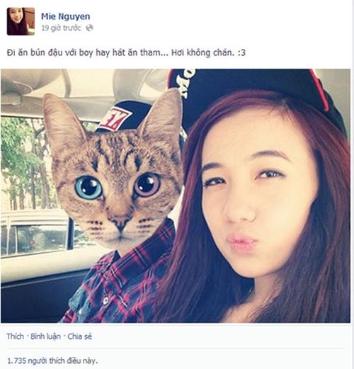 Tháng 6/2013, Mie Nguyễn chia sẻ bức ảnh vơií chàng trai giấu mặt dấy lên nghi vấn hẹn hò. Anh chàng mặc áo ca rô đỏ, gương mặt bị che mặt mèo được fan nhanh chóng phát hiện đó là vlogger JV.