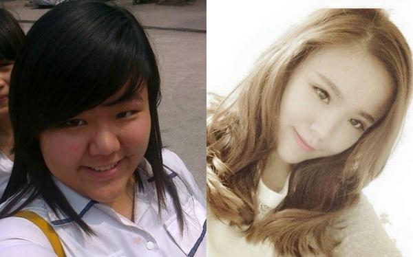 Sự khác biệt trước và sau khi giảm cân của Châu. Ảnh: FBNV.
