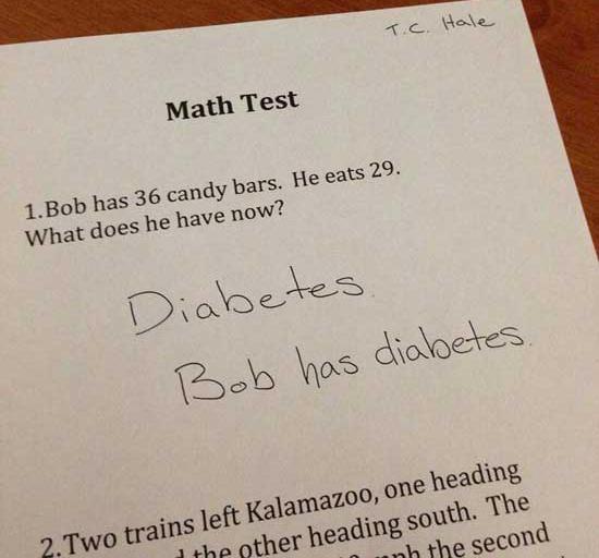 """""""Bob có 36 thanh kẹo, ăn mất 29 thanh, hỏi hiện tại Bob có bao nhiêu?"""" - Bạn học   sinh rất để ý vấn đề sức khỏe đáp: """"Bob có bệnh tiểu đường""""."""