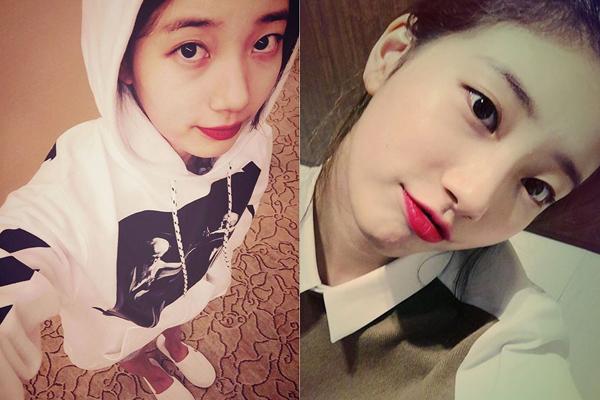 Suzy khoe mắt to tròn, chu môi dễ thương.