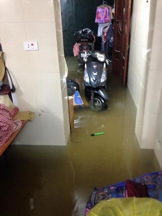 Nước vào tận trong nhà, nhiều bạn phải cùng bố mẹ thi nhau chất đồ lên cao.