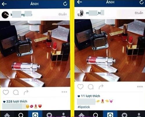2 tài khoản Instagram đăng bức ảnh chụp mỹ phẩm giống hệt nhau và nhận làm của mình.