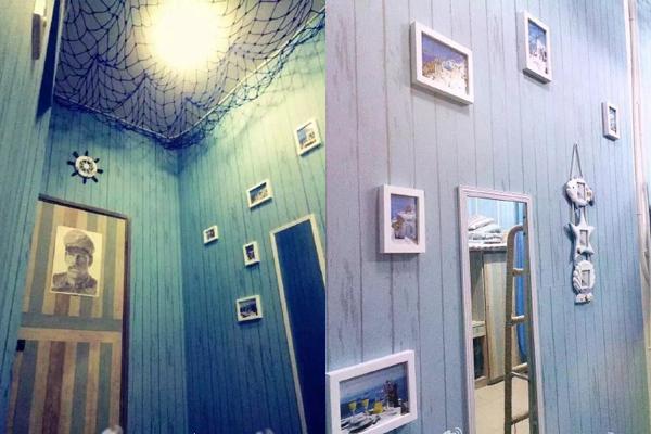 Các nam sinh trường ĐH Kỹ thuật điện tử Thành Đô tân trang phòng ký túc theo phong cách hải dương.
