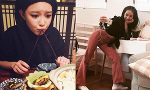 Sao Hàn 14/11: Soo Young háu ăn như trẻ con, Victoria cong mông tạo dáng