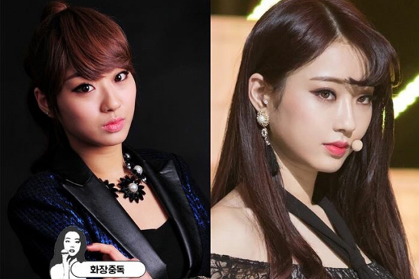 Kyung Ri (Nine Muses) xinh đẹp hơn hẳn sau khi đổi cách make-up, đặc biệt   là kiểu tóc, phần mái để lộ ra khiến gương mặt Kyung Ri trông nhẹ nhõm   thanh thoát hơn hẳn.