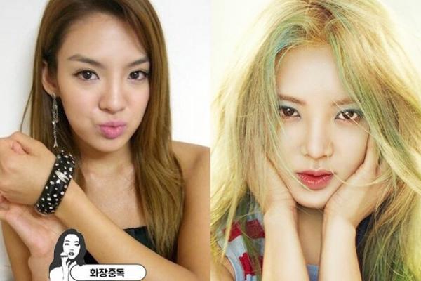 Sự thay đổi của Hyo Yeon (SNSD) thể hiện rõ ràng nhất trong việc đổi kiểu   lông mày từ sắc nhọn sang mày ngang nhạt màu hơn, bầu mắt cũng được   đánh phấn màu sắc tươi sáng.