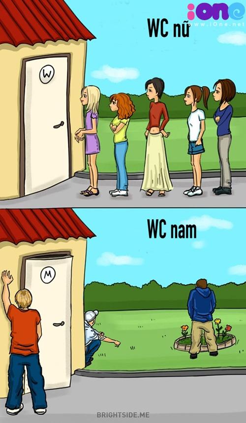 Một điều hiển nhiên là con gái không thể tự nhiên trong chuyện WC như con trai.