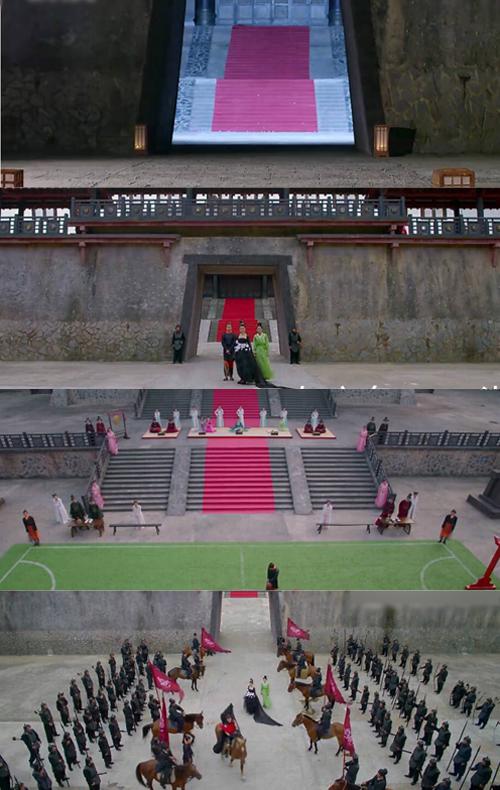 Hoàng cung trống vắng, lèo tèo vài mống trong phim. Ở cảnh Tề Thịnh xuất chinh