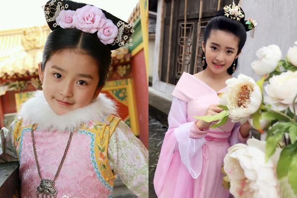 Sài Úy trong vai Trương Linh Linh và vai diễn trong Bộ Bộ kinh tâm năm 9 tuổi.