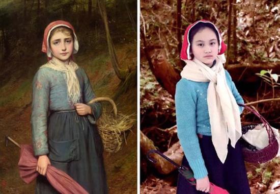 Học sinh được yêu cầu đóng giả nhân vật trong tranh, dùng các đồ vật tương tự trong cuộc sống để làm đạo cụ, bối cảnh, sau đó chụp ảnh lại rồi so sánh với tác phẩm gốc có kèm giới thiệu.