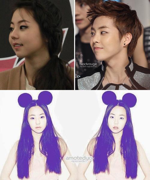 Xiu Min (EXO) và So Hee, cựu thành viên Wonder Girls, đều có mặt bánh bao   tròn trịa đáng yêu. Fan ghép mặt Xiu Min vào hình của So Hee trông không hề   có sự khác biệt.