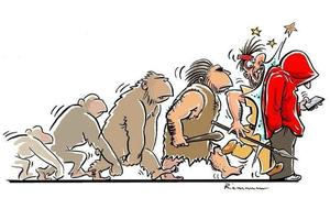 Tranh biếm họa khiến bạn giật mình về cách con người tiến hóa