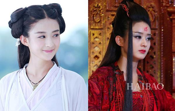 Hoa Thiên Cốt (Triệu Lệ Dĩnh) thay đổi hoàn toàn ngoại hình từ kiểu tóc, cách trang điểm,   trang phục khi biến hóa thành Yêu Thần.