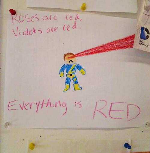 """Bài thơ tỏ tình bất hủ được một cậu bé chế lại: """"Hoa hồng màu đỏ, violet cũng đỏ, cái gì cũng màu đỏ""""."""