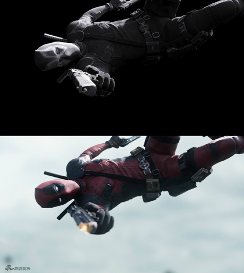Một trong những cảnh đẹp của phim là Deadpool bay người bắn súng, được thực   hiện hoàn toàn bằng kỹ xảo.