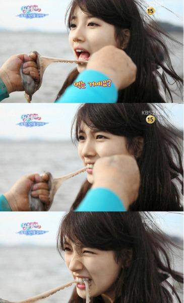 Suzy vẫn xinh đẹp ngay cả khi ăn bạch tuột sống.