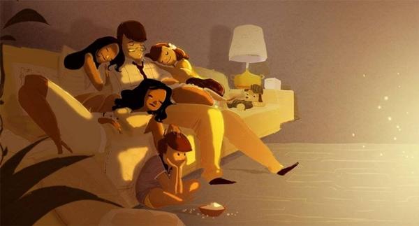 Gia đình, đơn giản là ngủ quên cùng nhau trên ghế sofa khi xem phim.