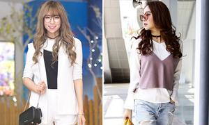 Sao style 7/4: Min, Minh Hằng lăng xê mốt mặc áo dây ngoài áo dài tay