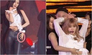 Sao nữ Hàn bị vũ công nam đụng chạm chỗ nhạy cảm trên sân khấu