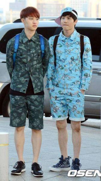 Đồ đôi của D.O và Su Ho trông chẳng khác đồ ngủ là mấy.