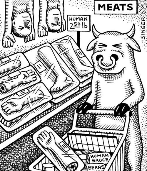 Bò đi siêu thị mua các bộ phận cơ thể người về làm món ăn.