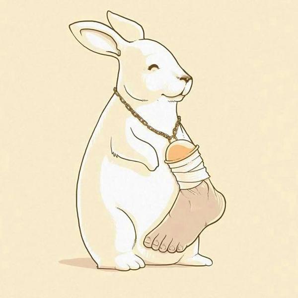 Thỏ đeo vòng cổ gắn chân con người như vật may mắn.