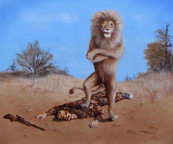Sư tử tự hào khoe chiến lợi phẩm săn bắt.