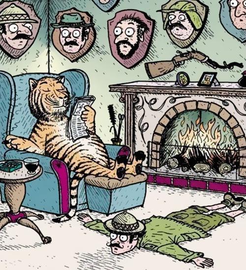 Căn nhà của hổ treo đầy chiến lợi phẩm đi săn người.