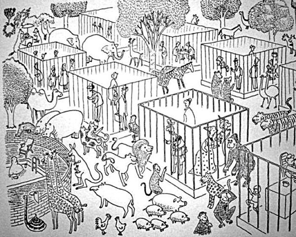 Vườn bách thú trở thành nơi nuôi nhốt con người cho các loài động vật đến tham   quan.