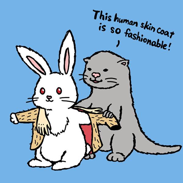 Áo khoác da người trở thành món đồ thời thượng của các loài vật.