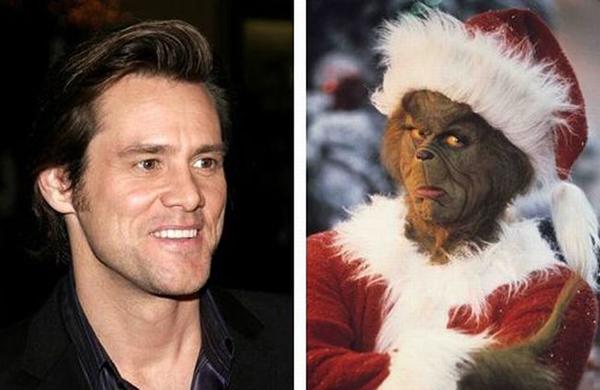 Jim Carrey sở hữu nhiều vai diễn không ai nhận ra nổi. Sau The Mask, nam tài từ lại vào vai một yêu tinh có ngoài hình ghê rợn trongThe Grinch Who Stole Christmas