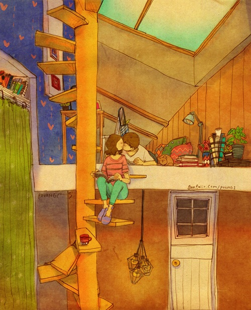 Đọc sách bên nhau và thi thoảng lại rời mắt khỏi trang giấy để trao nhau một nụ hôn nhẹ.