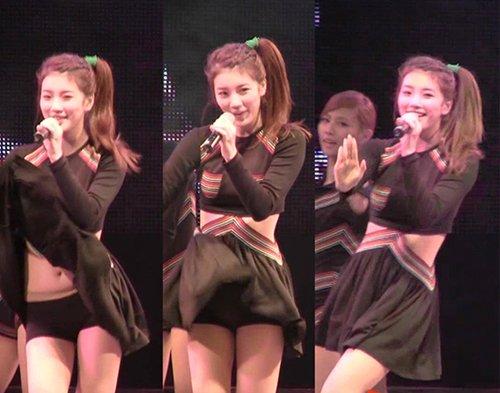Trong làng giải trí Hàn, không ít người đẹp bị gió thổi tốc váy trong các sự kiện. Nữ ca sĩ, diễn viên Suzy bị lộ nội y trong buổi diễn trên sân khấu ngoài trời. Nhiều khán giả cho rằng ngoài yếu tố khách quan của gió trời thì chất liệu váy mỏng cũng là nguyên nhân tạo sự cố.