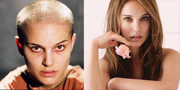 Nổi tiếng với vẻ đẹp mong manh lôi cuốn, Natalie Portman sẵn sàng vứt bỏ ngoại hình long lanh của mình để vào vaiEvey Hammond trong V For Vendetta. Không sử dụng da đầu giả để hoá trang, Natalie đã thực sự cạo trọc đầu, khuôn mặt để mộc