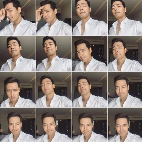 MC Phan Anh lộ bản chất thích chụp ảnh tự sướng khi đăng tải muôn kiểu selfie trước ống kính để chọn ra tấm ảnh đẹp nhất đăng Facebook.