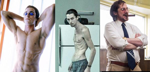 Christian Bale đến nay vẫn là nam diễn viên giữ nhiều kỷ lục về tăng - giảm cân nặng nhất Hollywood. Nhìn vào danh sách vai diễn của anh, có thể thấy Bale hy sinh nhiều như thế nào cho nghiệp diễn. Năm 2004, Bale gây choáng khi giảm từ 78kg xuống còn 50kg để đóng vai anh thợ máy gầy trơ xương trong The Machinist. Năm 2013, Người Dơi tiếp tục khiến fan nóng ruột vì tăng 20kg, từ 83kg lên 103kg trongAmerican Hustle