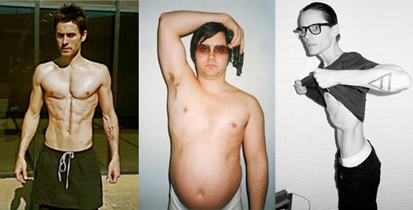 Bám sát Christian Bale về thành tích điều khiển cân nặng là ngôi sao điển trai Jared Leto. Khi đóng Chapter 27, để có ngoại hình giống tay ám sát David Chapman, Leto đã ăn kem cùng dầu olive bỏ lò liên tục để tăng 30kg. Hậu quả là anh phải di chuyển bằng xe lăn và mắc bệnh gút. Nhưng điều đó có vẻ không làm nam tài tử dè chừng, năm 2014, anh đã nhịn ăn nhiều ngày,giảm 13kg để vào vai người nhiễm HIV trongDallas Buyers Club.