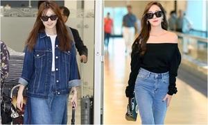 Nữ chính 'W' mặc xấu, Jessica lộ vai trần ở sân bay