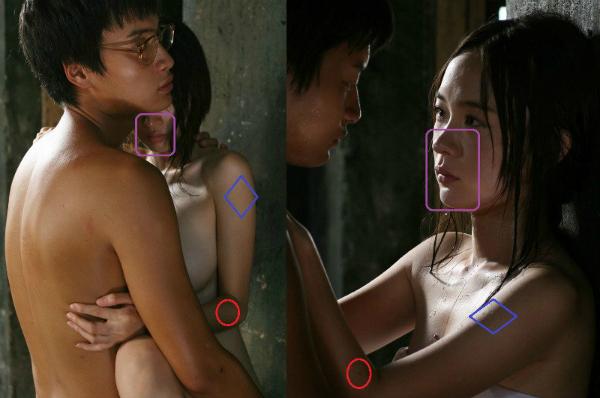 Hoắc Tư Yến (phải) đã dùng người đóng thế và bị fan phát hiện qua loạt ảnh hậu trường với nhiều điểm khác biệt