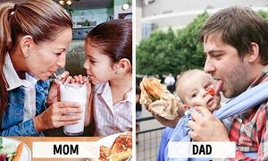 Khác biệt hài hước khi bé bên ba và mẹ