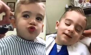 Loạt biểu cảm siêu cute của cậu bé đẹp trai khi cắt tóc