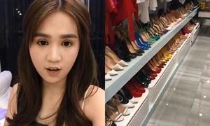 Ngọc Trinh livestream hé lộ tủ giày to như ở siêu thị