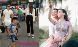 Lộ ảnh Kim Lý ân cần hộ tống mẹ con Hồ Ngọc Hà ở sân bay