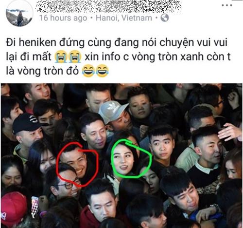 Bức ảnh cô gái nổi bật giữa đám đông được chú ý sau đêm giao thừa. Ảnh: Chụp màn hình.