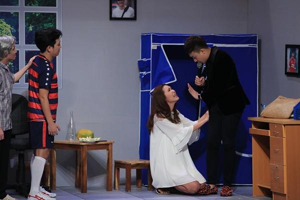 Minh Tú ôm ấp Trường Giang tại sân khấu Ơn giời - 4