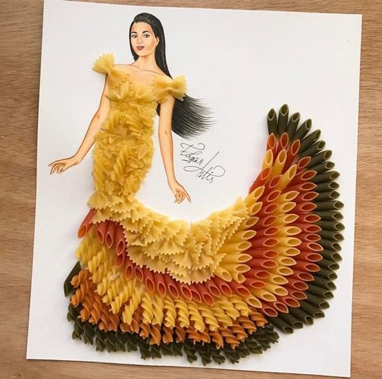 Rau, củ, hải sản bỗng chốc thành váy đẹp lung linh - page 2 - 3
